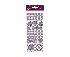 Stickers Glitter Outline blomster pink 10x23