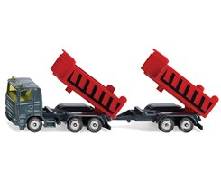 Truck with dumper body and tipping trailers